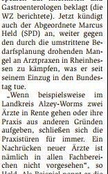 """23.01.2017/Wormser Zeitung: """"Kinderärzte an der Grenze"""""""