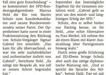 """25.01.2017/Wormser Zeitung: """"Schulz spricht Sprache des Volkes"""""""