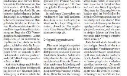 """Nibelungenkurier/01.02.2017: """"Der Ärztemangel in Rheinhessen"""""""