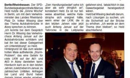 """Alzeyer Wochenblatt/02.02.2017: """"Held sieht dringlichen Handlungsbedarf bei Alzeyer Autobahnbrücke"""""""